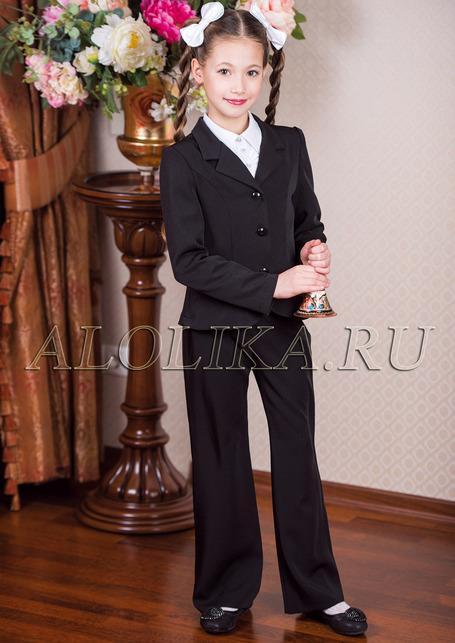 Костюм для девочек черного цвета (жакет и брюки) Лицей фото